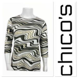 Chico's wavy print olive long sleeve top